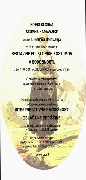 KD Folklorna skupina Karavanke 2011 Sestavine folklornih kostumov v sodobnosti vabilo 3