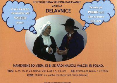 KD Folklorna skupina Karavanke 2013 Delavnice učenje valčka in polke vabilo 3