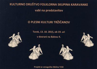 KD Folklorna skupina Karavanke 2015 O plesni kulturi Tržičanov vabilo 3a