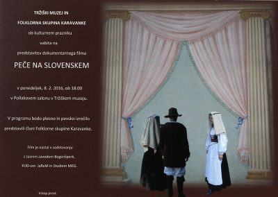 Tržiški muzej, Folklorna skupina Karavanke, 2016, Predstavitev dokumentarnega filma Peče na slovenskem, v Tržiškem muzeju, vabilo 3